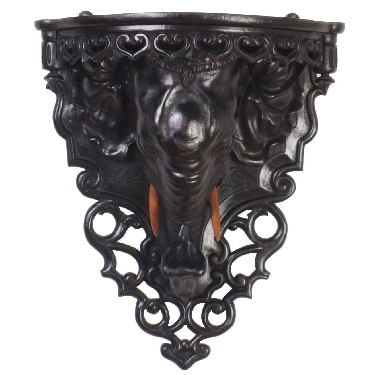 Antique Anglo-Indian Carved Wood Elephant Bracket at 1stdibs