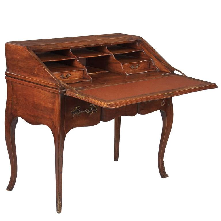 Louis XV Style Walnut Drop-Front Secretaire/Desk, 1920s 1