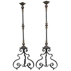 Excellent Pair of Iron and Bronze Torcheres Candleholders Spanish or Italian