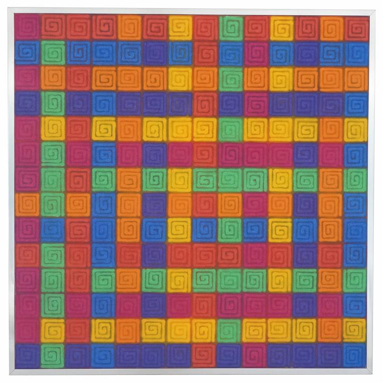 """Acrylic on Canvas Titled """"Eleven Turns to the Center"""" by Mario Yrisarry"""