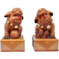 Pair of Mid-Century Chinese Foo Dog Boxes