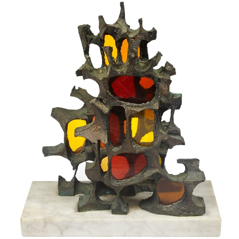 Mid-Century Modern Brutalist Bronze Sculpture For Sale