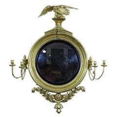 Classical Gilt Gesso Convex Girandole Mirror