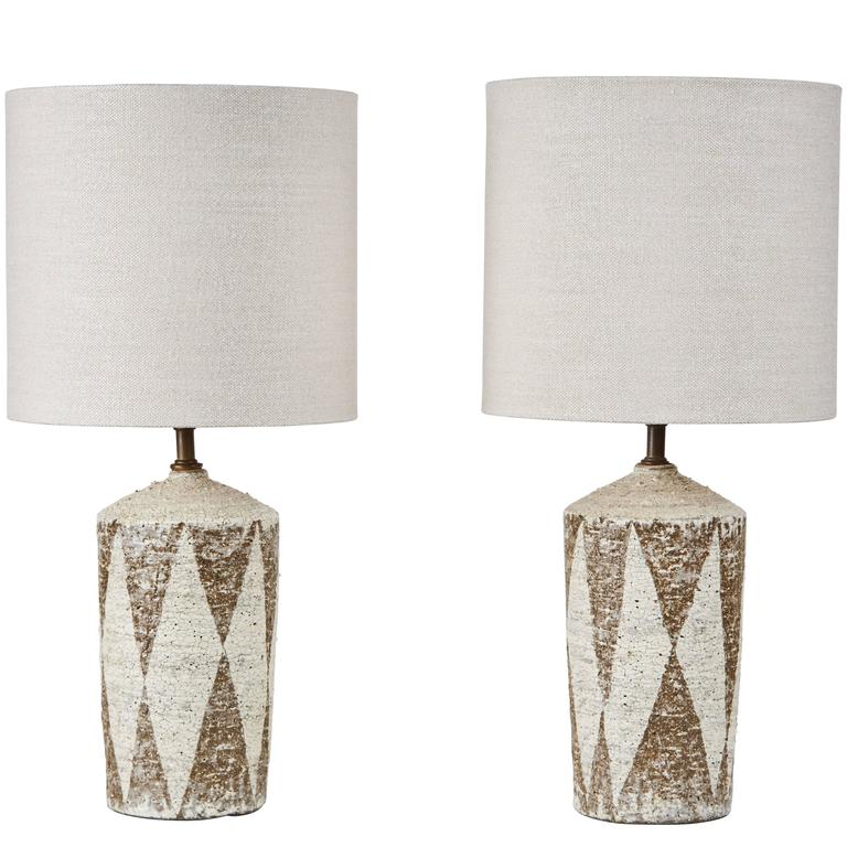 pair of american studio ceramic table lamps at 1stdibs rh 1stdibs com Lamp Rewiring Supplies Rewiring Antique Lamps