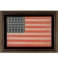 38 Stars on a Parade Flag with Large Scale and Beautiful Persimmon Red Stripes