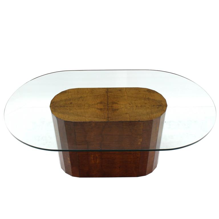 Large Burl Wood Base Thick Glass Top Oval Dining Table At