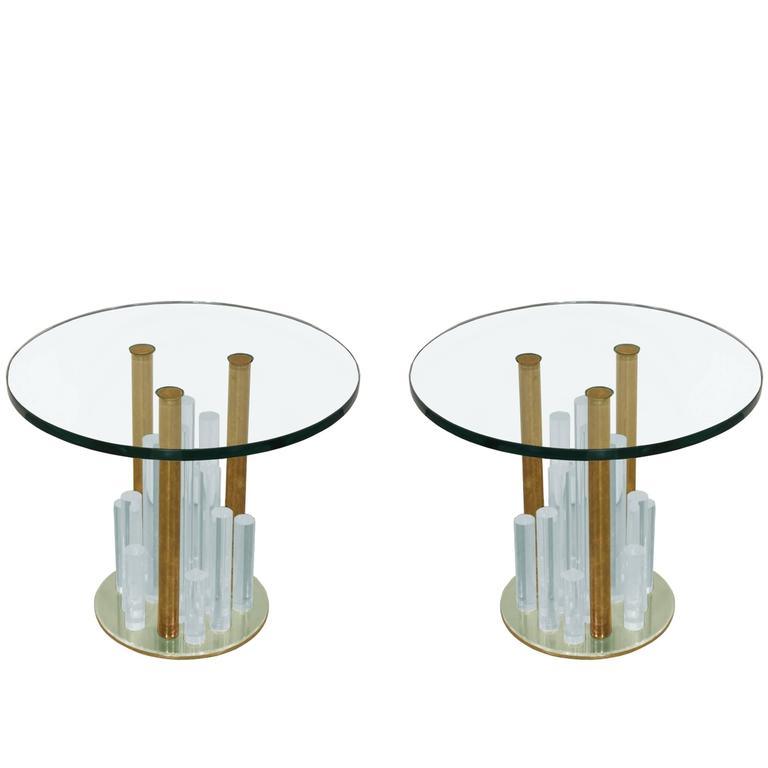 "Lucite and Brass ""Skyscraper"" Side Tables by Charles Hollis Jones"