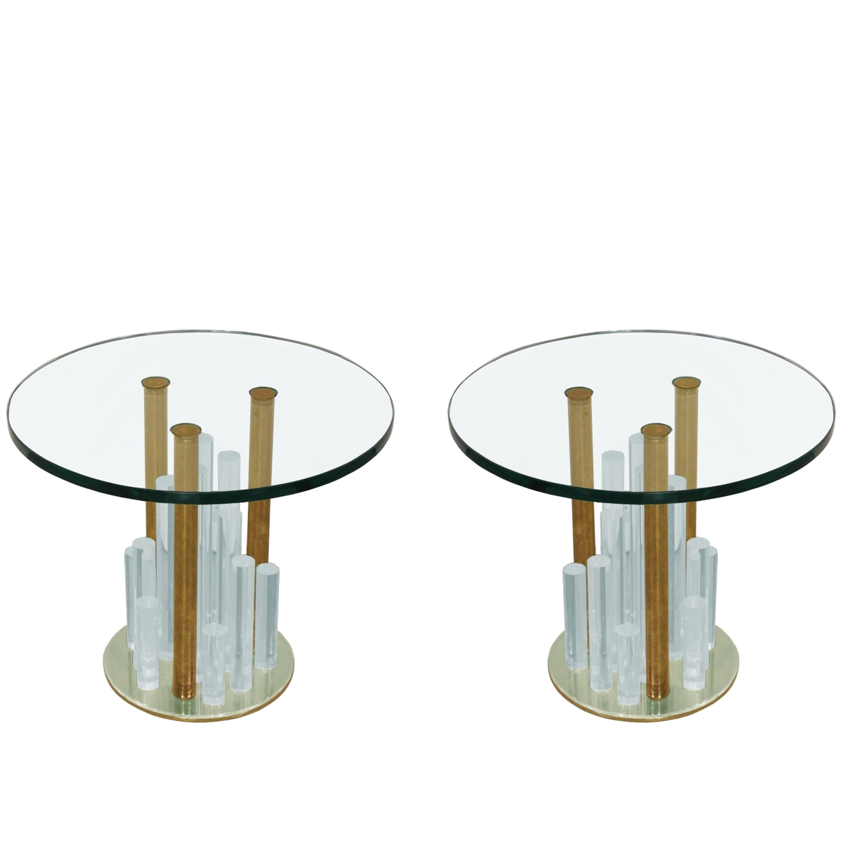 """Lucite and Brass """"Skyscraper"""" Side Tables by Charles Hollis Jones"""