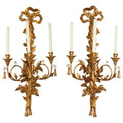 Pair of Louis XVI Style Giltwood Three-Light Wall Appliques
