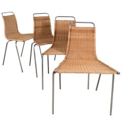 Set of Four Poul Kjaerholm 'E. Kold Christiansen' PK1 Wicker Chairs
