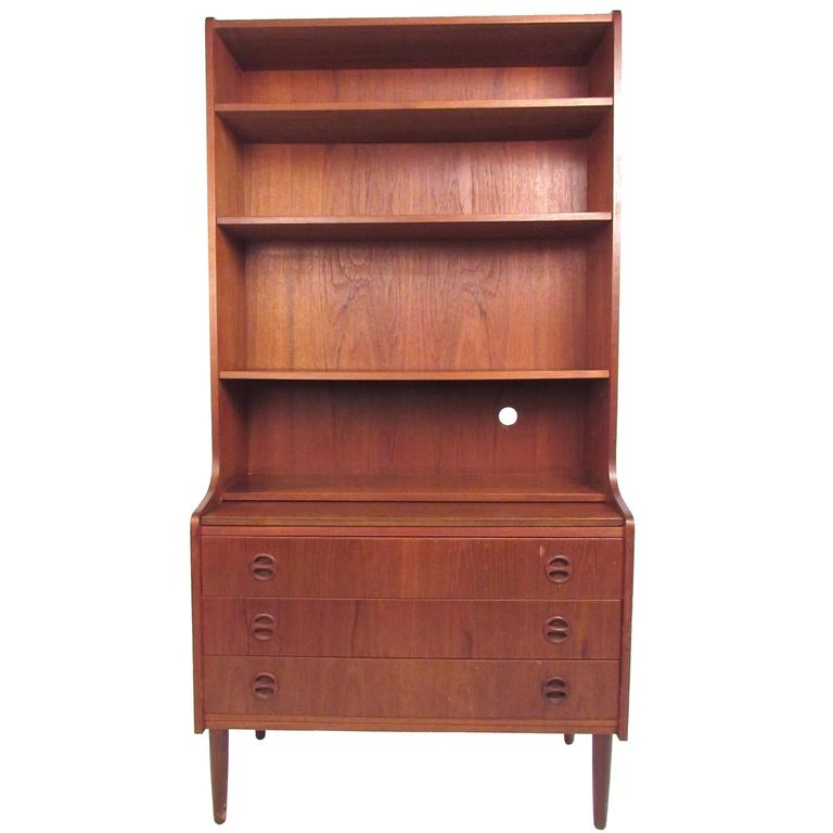 Scandinavian Modern Teak Bookshelf With Writing Desk For Sale