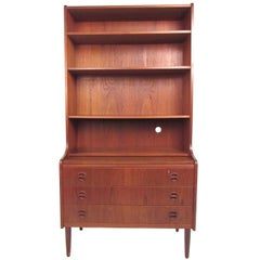 Scandinavian Modern Teak Bookshelf With Writing Desk