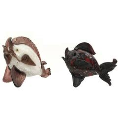 Pair of Barovier Blown Glass Fish by Fratelli Toso, Italy, 1930s