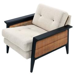 Restored Mid-Century Modern Caned Lounge Chair by Galloways, circa 1950's