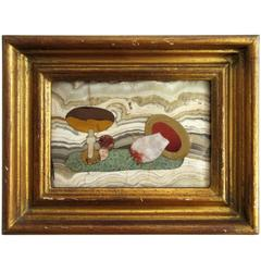 Vintage Pietra Dura Picture of Mushrooms by Ugolini