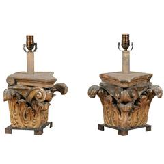 Pair of 19th C Italian Wooden Corinthian Capital Fragments Made into Table Lamps