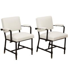 Pair of Hand-Stitched Leather Armchairs by Jacques Adnet