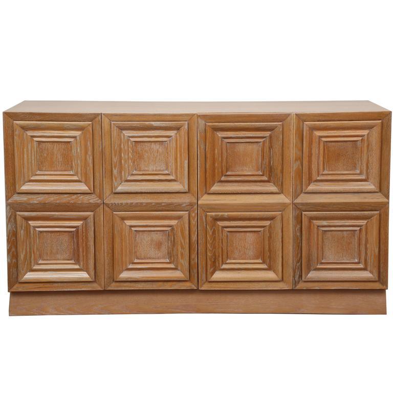 Large Cerused Oak Cabinet, USA, 1950s