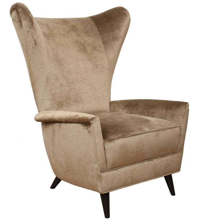 Single wingback lounge chair in the style of gio ponti for for Single lounge chairs for sale