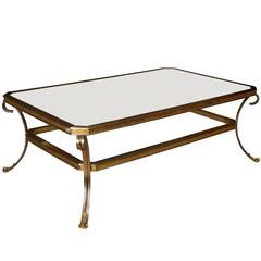 Jansen Polished Steel, Brass and Mirror Coffee Table