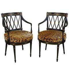 Pair of Directoire Style Black and Gilt Armchairs