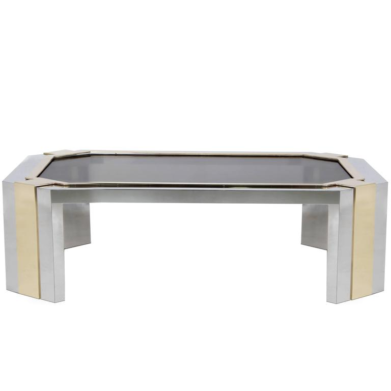 European Modern Geometric Bronze Glass Stainless Steel Brass Minx Coffee Table For Sale At 1stdibs