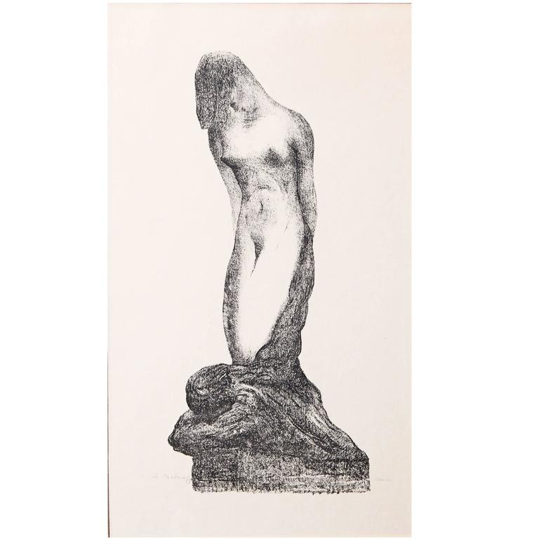 """""""The Slave,"""" Highly Rare Art Deco Print with Nude Couple by Portnoff, 1930s For Sale"""