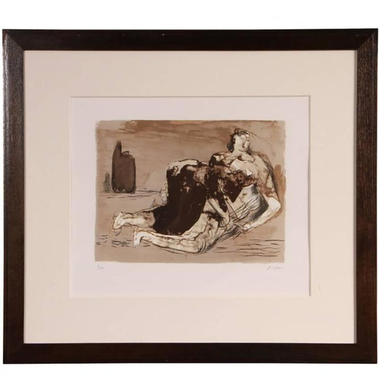 Henry Moore 'British' Signed Lithograph of a Reclining Figure
