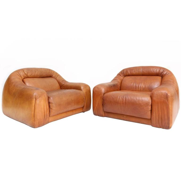 Leather Club Chairs Pair At 1stdibs