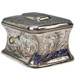 Austrian Silver Sugar Box like Chest with Key, circa 1900