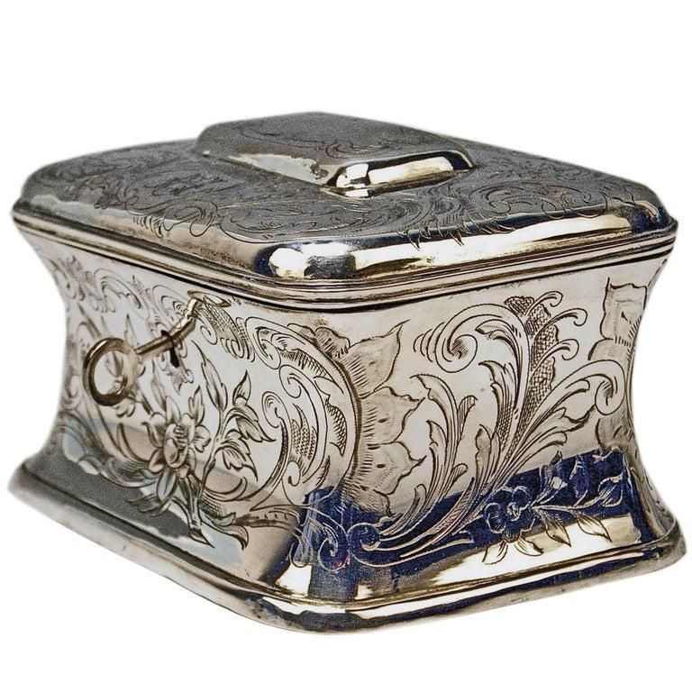Austrian Silver Sugar Box like Chest with Key, circa 1900 For Sale