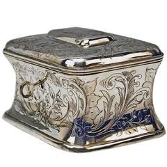 Austrian Silver Sugar Box like Chest with Key, circa 1900