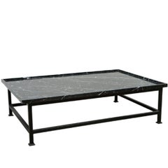 Harbinger Simple Iron Base Coffee Table with Stone Top
