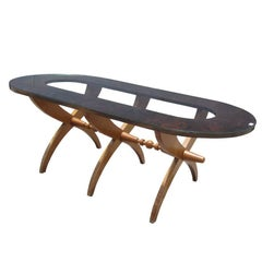 Vintage Mid-Century Glass Top Rosewood Dining Table