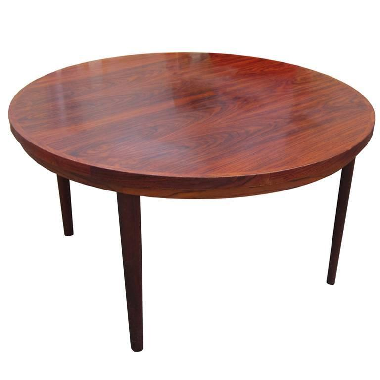 Danish mid century modern rosewood revolving table for for Rotating dining table