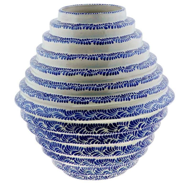 Blue Honeycomb, Decoration Object Talavera Ceramic