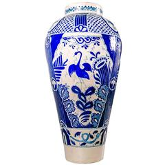 Blue and White Talavera Ceramic Vase