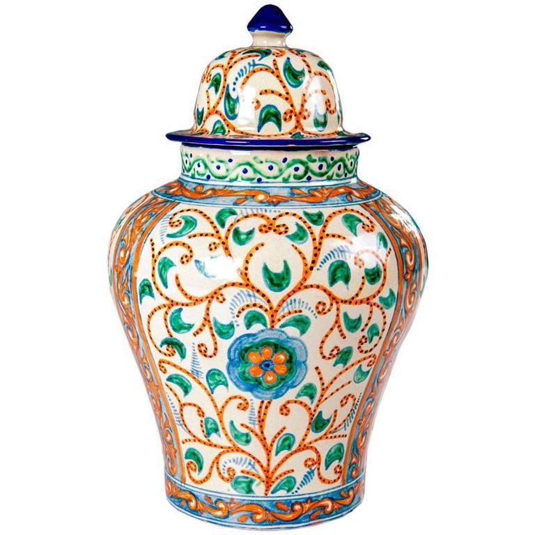 Colorful Mexican Ceramic Vase, Talavera Tibor