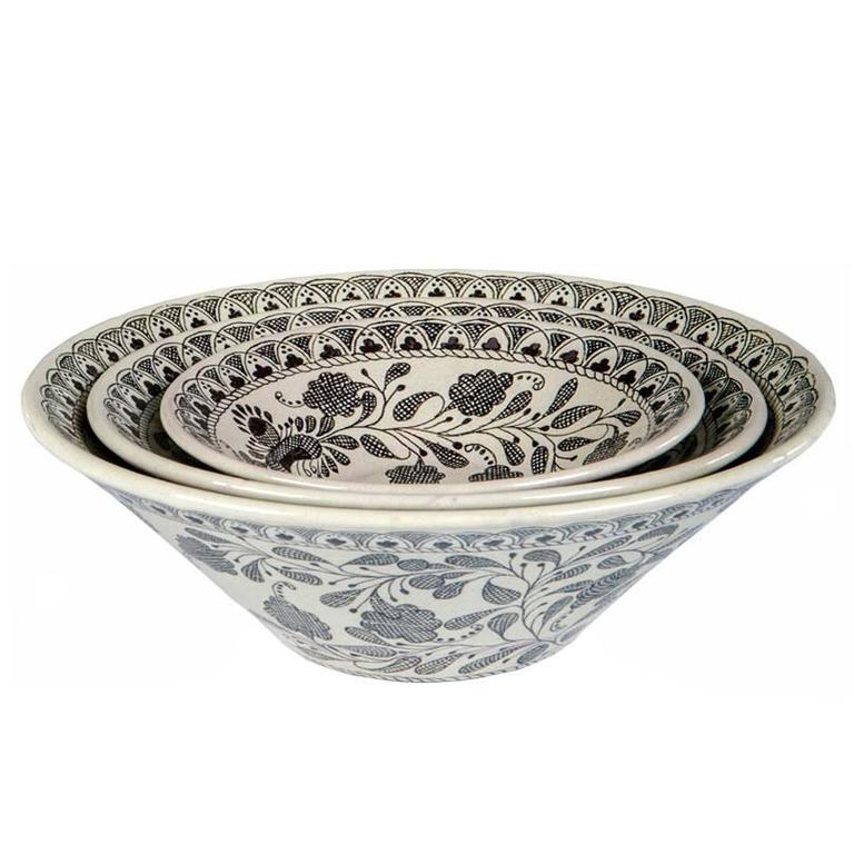 Black and White Mexican Ceramic Set of Bowls, Talavera