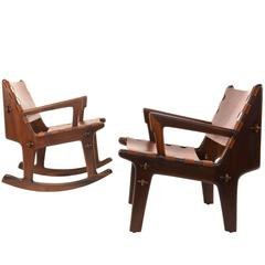 Rosewood and Leather Lounge and Rocker by Angel Pazmino