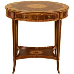 Adam Style Walnut and Satinwood Oval Side Table