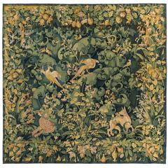 "Tapestry ""Feuilles de choux"" with Dogs and Birds"