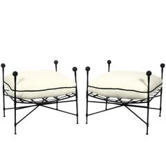 Pair of Sculptural Iron Stools by Salterini