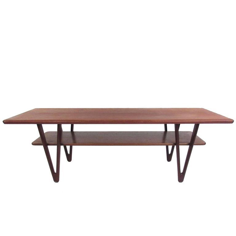 Danish Modern Triangular Leg Teak Coffee Table by Kurt Ostervig