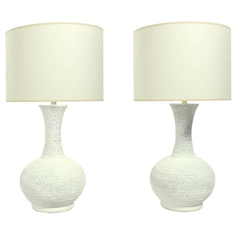 Pair Of Coiled Rope Plaster Lamps For Sale