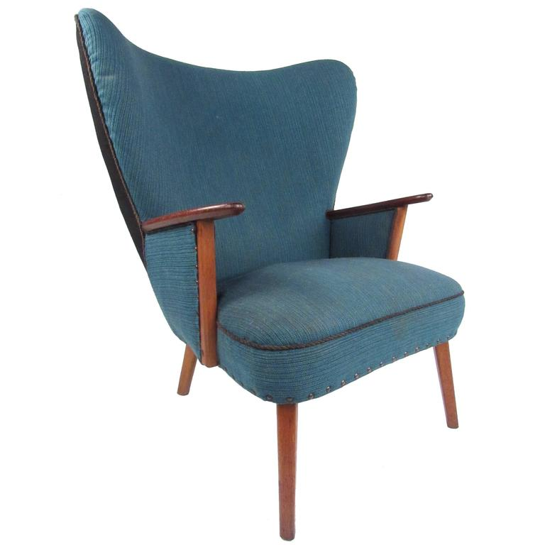 Mid-Century Modern Wingback Lounge Chair by Madsen and Schübel Pragh