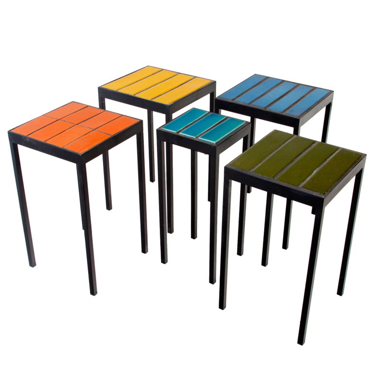 Tile Side Table by Thomas Hayes Studio with Steel Base For Sale