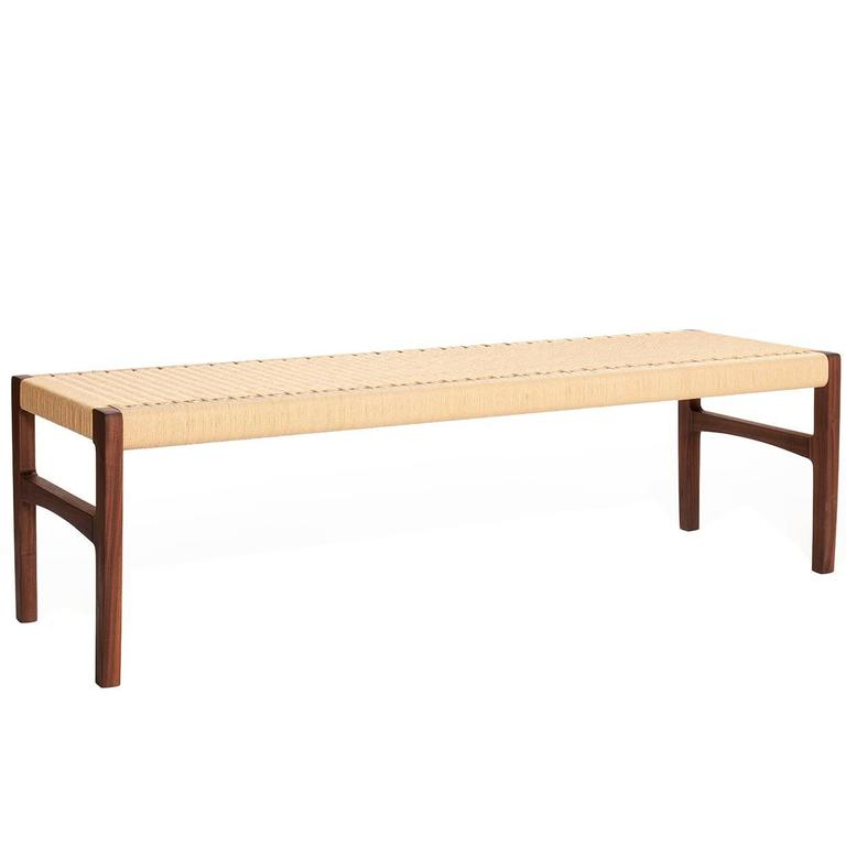 """Giacomo Bench, Solid Walnut with Hand-Woven Paper cord Seat 48"""""""