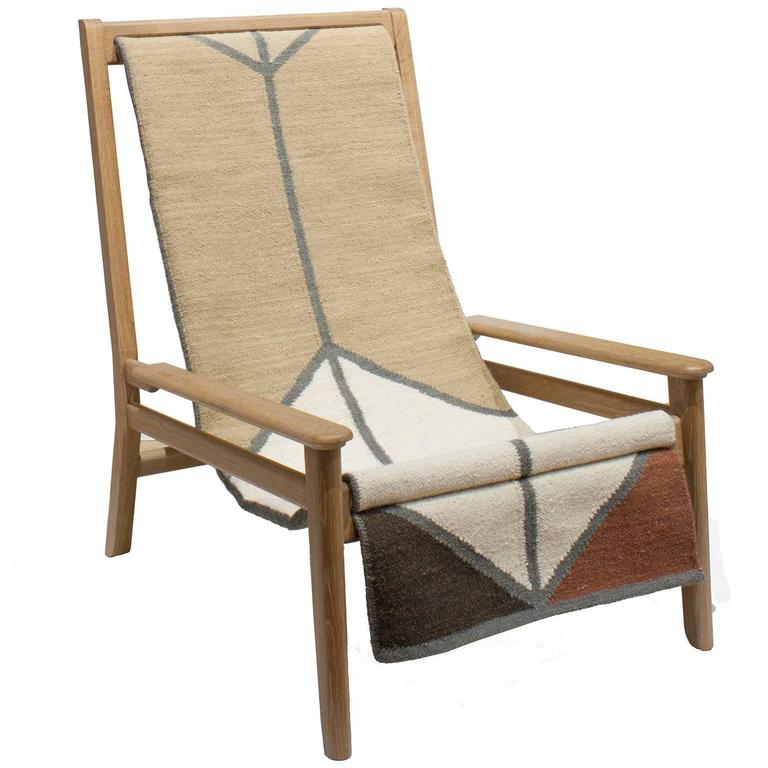 Sling Chair / Lounge Chair In Cerused White Oak, Wool Sling With Rust  Colorway For