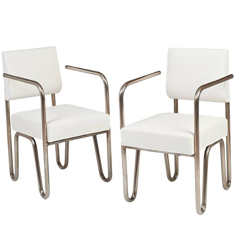 Early Pair of Tubular Metal Chairs by Andre Sornay, ca. 1929 1